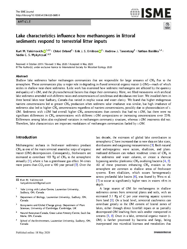 Lake characteristics influence how methanogens in littoral sediments respond to terrestrial litter input.