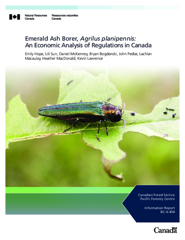Emerald Ash Borer, Agrilus planipennis: An Economic Analysis of Regulations in Canada